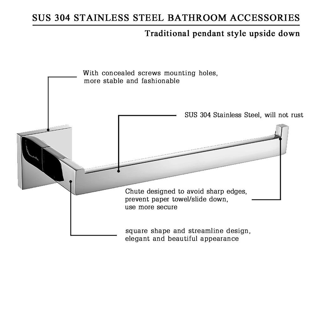 Amazon.com: Leyden 1 Piece Wall Mount Chrome Finish Stainless Steel ...
