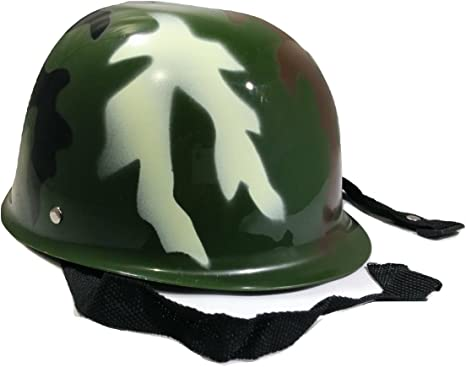 Child Plastic Camo Camoflauge Army Helmet Hat Military Soldier Costume Accessory