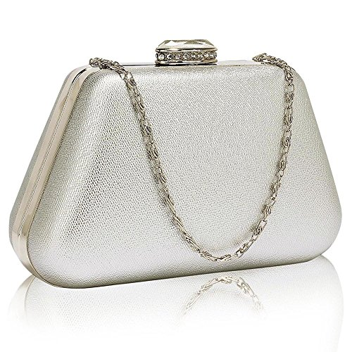 design Designer Case Different With Box Design Bag 1 Hard Ladies Chain Clutch Handbag Evening Silver Womens New 48FfPndf