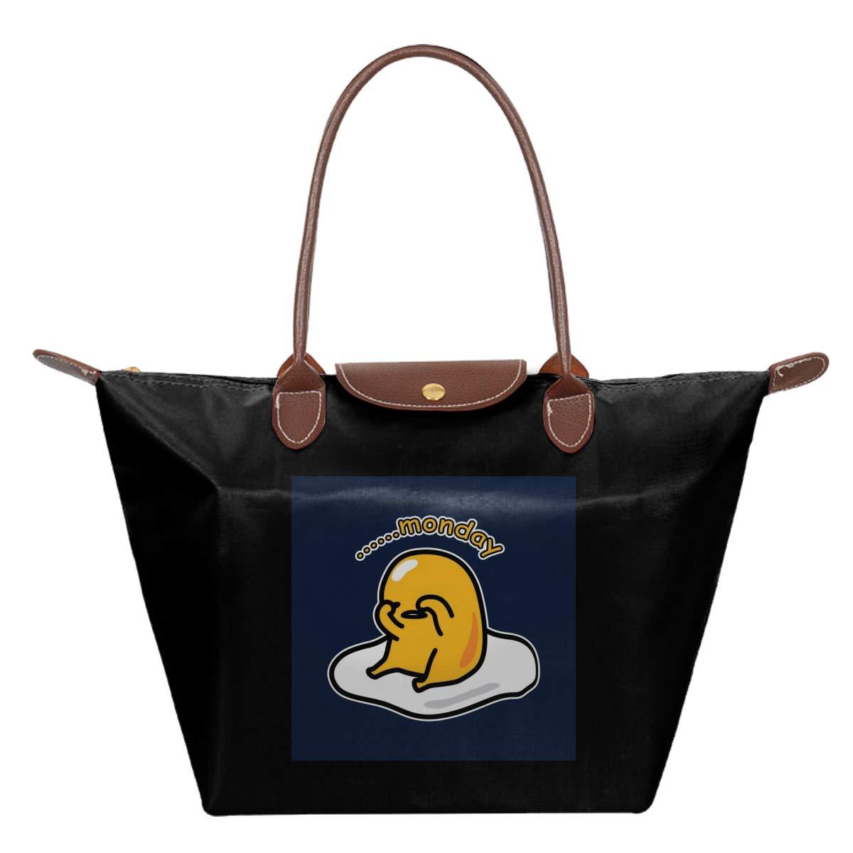 Gudetama Hates Monday Waterproof Leather Folded Messenger Nylon Bag Travel Tote Hopping Folding School Handbags