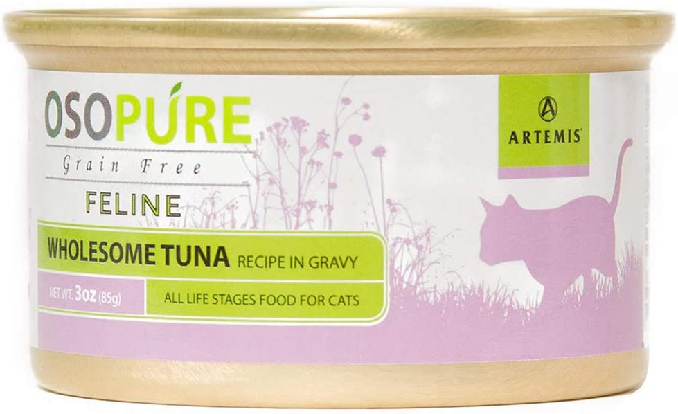 Artemis OSOPURE Wet Cat Food - Grain Free Limited Ingredient Canned Gravy Protein Nutrition All Life Stages Case of 24 Cans