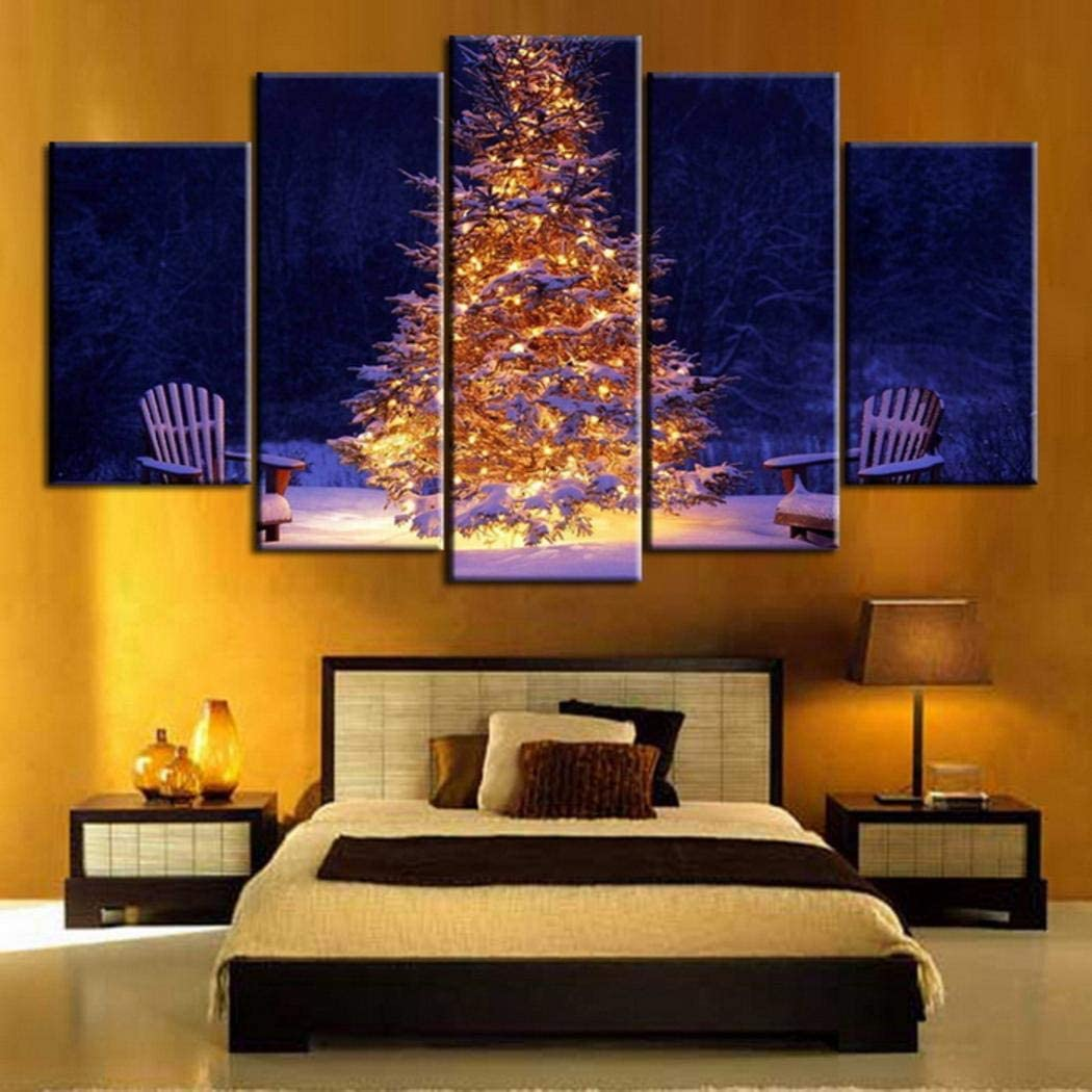 Feriay 5Pcs Home Living Room D�cor Cartoon Christmas Canvas Wall Art Pictures Painting Paintings