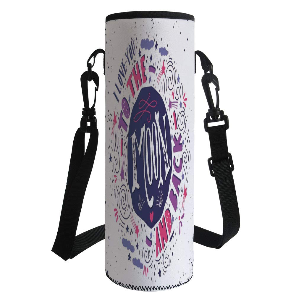 iPrint Water Bottle Sleeve Neoprene Bottle Cover,I Love You,Sweet Colorful Love with Fun Forms Comet Rain Storm Clouds Volcano Theme,Pink Violet Purple,Fit for Most of Water Bottles