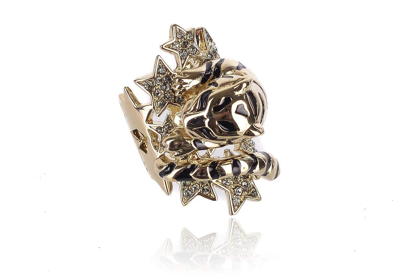 Roberto Cavalli Womens Gold Swarovski Crystal Star Lion Head Ring Sz 7~RTL$1375