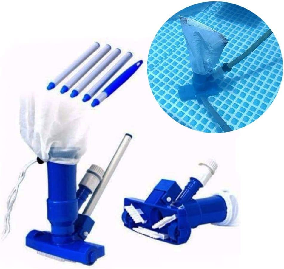 Portable Pool Vacuum Jet Cleaner Pool Cleaning Accessories Brush, Bag, and 4' Pole for Pool Spa Fountain Hot Tub