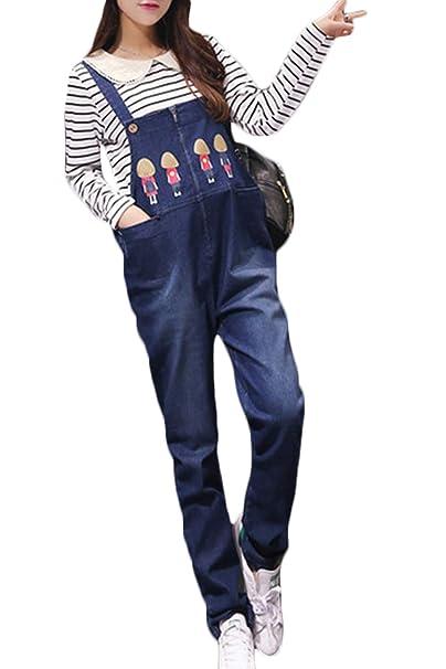Simgahuva Mujeres Jumpsuit Fit Denim Overalls Ajustable Maternidad Vientre Pantalones Azul S