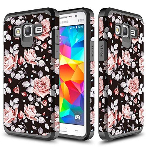 Galaxy J3 (2016) J320 / J3 V/Express Prime/Amp Prime/Galaxy Sol/Galaxy Sky S320VL / J3 Nova Case, TownShop Hard Impact Dual Layer Shockproof Bumper Case - Pink Rose