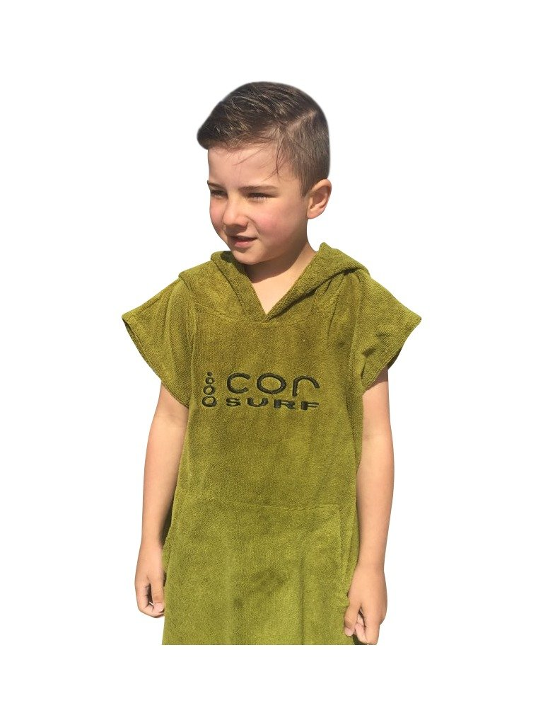 COR Board Racks Kids Towel Poncho - Light, Soft and Dries Fast | fits Ages 3-10 (Green) by Cor Surf
