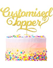 Personalised Cake Topper. Happy Birthday Decorations. Double Sided 400 Gram Glitter Card. Any Text Customized. Birthday or Wedding Party. Multicolour Glitter Cake Decoration. Wedding Decorations.