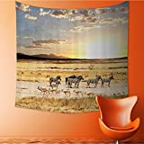 Nalahomeqq Safari Decor Collection Zebras with Their Striped Coats in Savannahs Sunset Adventure Africa Wild Safari Photo Microfiber Fabric drawing room Custom tapestry Cream Golden 40 W x 60 L INCH