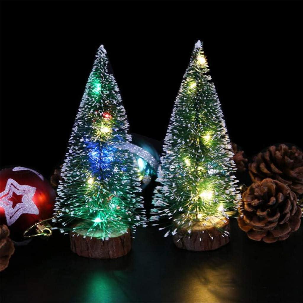 Rameng Sapin de Noel Artificiel Mini Arbre de No/ël Lumineux LED Deco No/ël avec Support Pied L,25cm