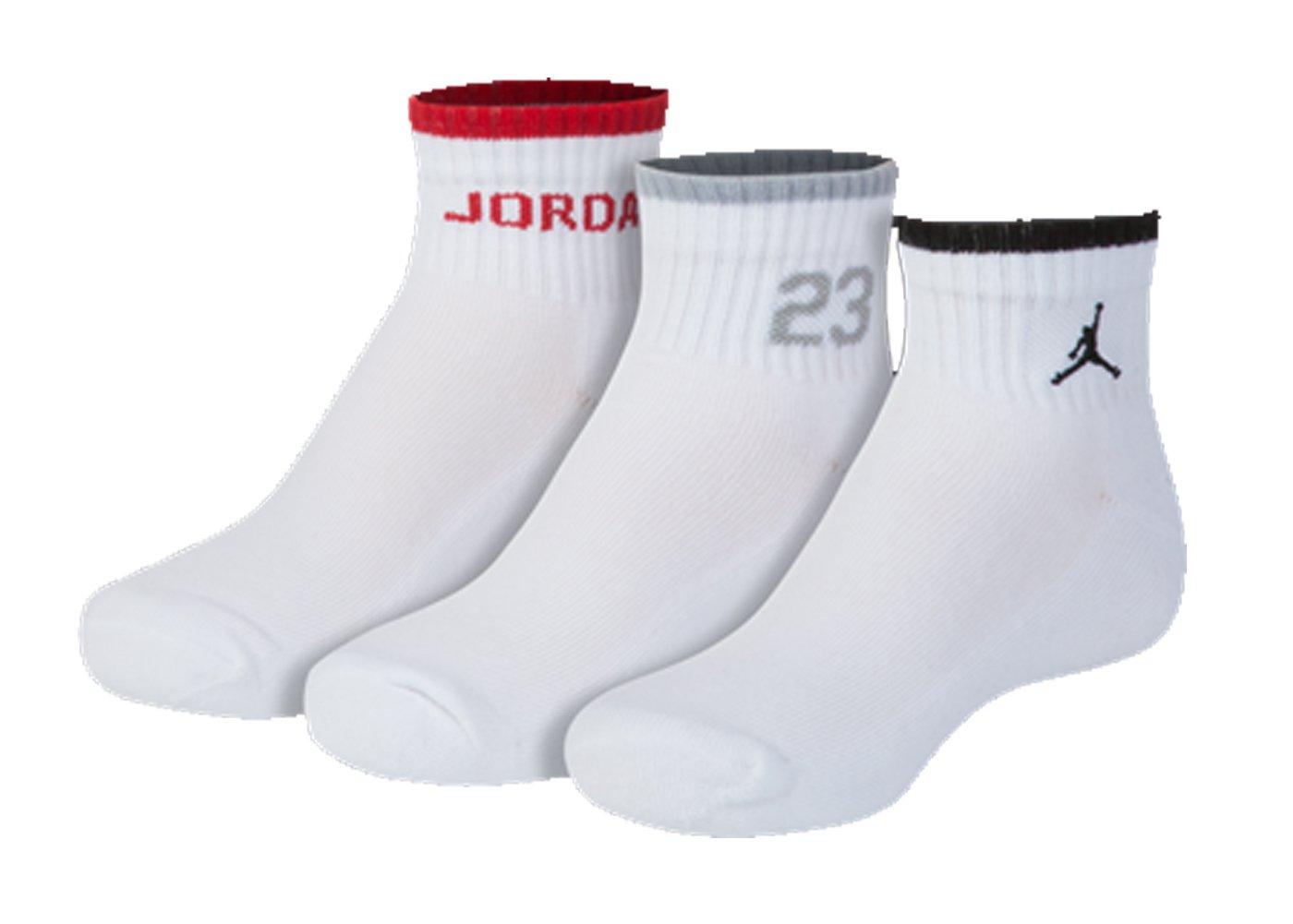 Nike Air Jordan Boys 3PK Quater Socks (7-9 (Shoe 3Y-5Y), White)
