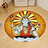 Gzhihine Custom round floor mat Spiritual Religious Figure on Grunge Backdrop Idol Meditation Boho Holy Print Bedroom Living Room Dorm Amber Orange Light Blue