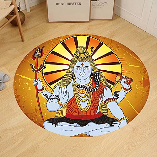 Gzhihine Custom round floor mat Spiritual Religious Figure on Grunge Backdrop Idol Meditation Boho Holy Print Bedroom Living Room Dorm Amber Orange Light Blue by Gzhihine
