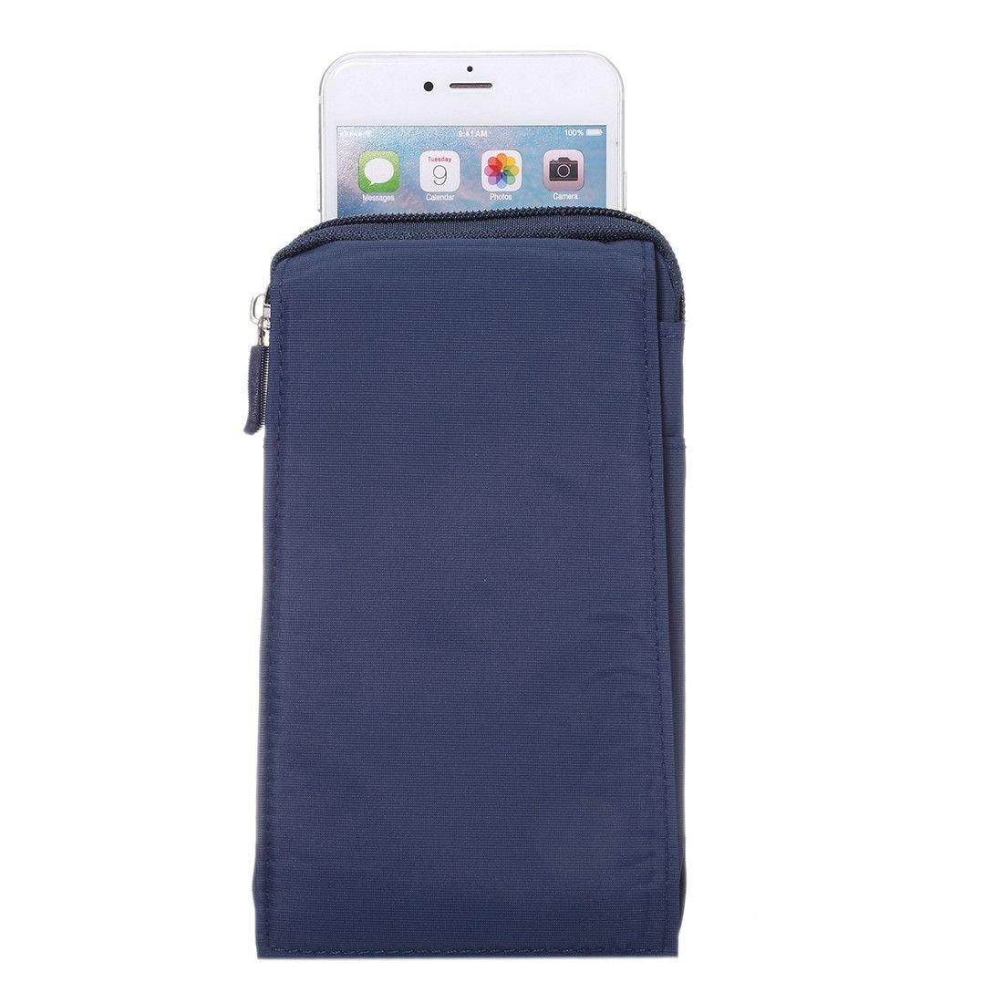 2018 Azul XXM DFV mobile Funda Multiusos Universal con Varios Compartimentos para Cinturon y Mosqueton para = Samsung Galaxy A7 18 x 10 cm