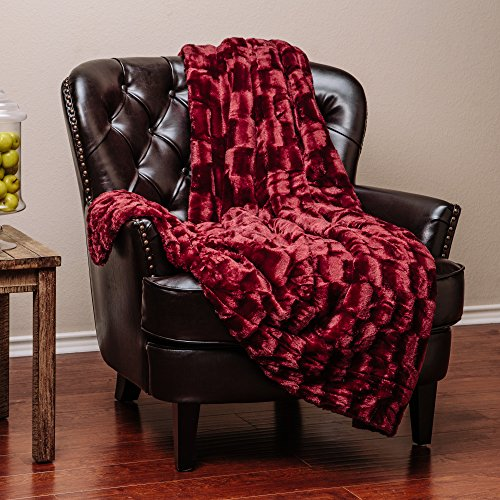 Burgundy Throw (Chanasya Super Soft Fuzzy Fur Elegant Faux Fur Rectangular Embossed Pattern With Fluffy Plush Sherpa Cozy Warm Maroon Red Microfiber Throw Blanket (50