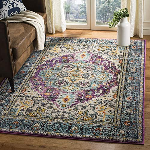 Safavieh Monaco Collection MNC251L Vintage Bohemian Medallion Distressed Violet and Light Blue Area Rug 3' x 5'