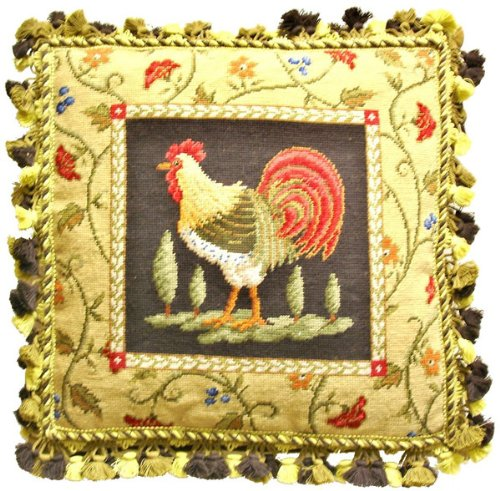 - Deluxe Pillows Fancy Rooster Facing Left - 21 x 21 in. needlepoint pillow
