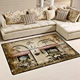 Retro Style French Paris Italian City Area Rug Pad Non-Slip Kitchen Mat for Living Room Bedroom 3'3″x5′ Doormats Home Decor Review