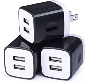 Wall Charger, Sicodo 3-Pack Dual Port USB Home Travel Wall Charger Plug Compatible with iPhone X,8,7 Plus,6 Plus, Tablet, Samsung Galaxy S10,S10+,S9,S8, S7, S6 Edge, HTC, LG, Sony, and More