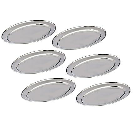 Kosma Set de 6 Bandejas ovalados de acero inoxidable, tamaño 30cm - Diseñador bandejas de servir | Arroz | plato plato