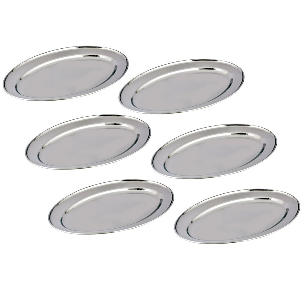 Kosma Set of 6 Stainless Steel Oval Tray – Oval Shaped Serving Platter in Size 20cm | Mirror Polish Finish Kitchen Trays