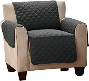 Collections Etc Reversible Quilted Furniture Protector Cover, Black/Gray, Chair
