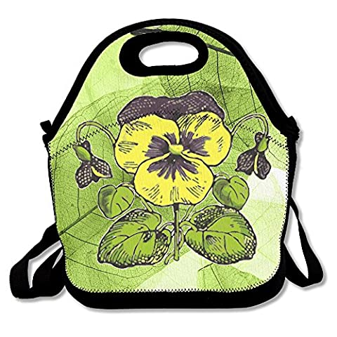 WFBF Lunch Bag Large & Thick Tote Reusable Insulated Lunch Box Carry Bag For Travel And Picnic Fashion Fashion Pansy Flowercartoon - Pansy Messenger