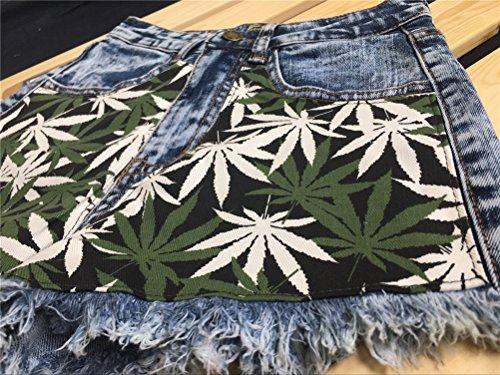 pour Taille Taille Skinny Imprim Poches Vintage Bleu Jeans Femme Haute Floral FuweiEncore Grande avec Shorts qPUB7