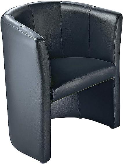 Fauteuil club - habillage en cuir - noir - siège visiteurs ...