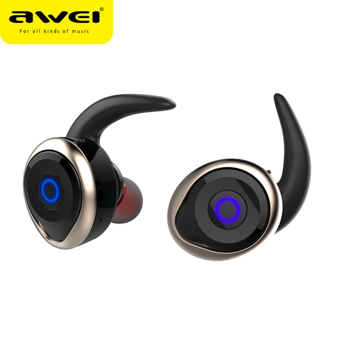 Awei T1 Single/Pairs Ture Wireless Get Rid Of Wire Binding earbuds, One Button Operation Bluetooth V4.2 Waterproof IPX4 Sport Headphones for Running Gym Exercise Hands-free Calling for iphone7(Gold)