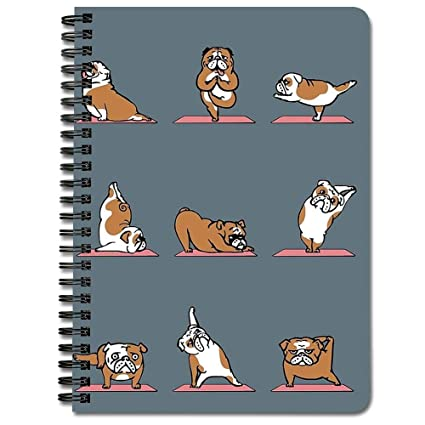 English Bulldog Yoga - Cuaderno de espiral: Amazon.es ...
