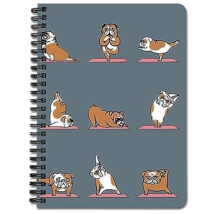 English Bulldog Yoga - Cuaderno de espiral: Amazon.es ...