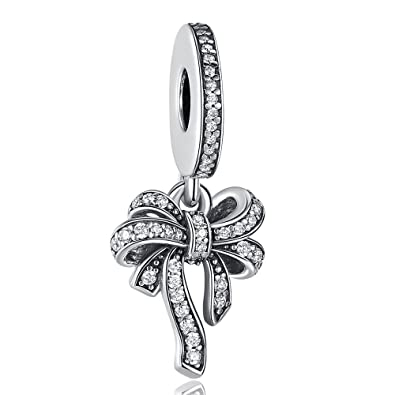 Angelfly Sparkling Schleife Charms Authentic 925 Sterling