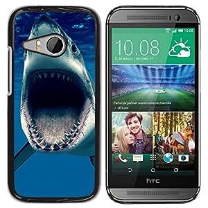TECHCASE**Cubierta de la caja de protección la piel dura para el ** HTC ONE MINI 2 / M8 MINI ** Jaws Shark Ocean Blue Sea Predator
