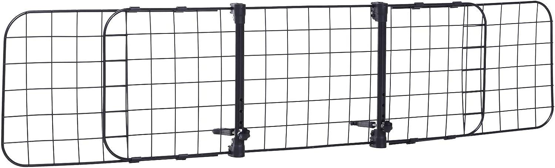 Pawhut Rejilla Separador Perro Coche Extensible Universal Reja de Seguridad Barrera para Perro y Maletas Mascota 91-145x30cm Acero