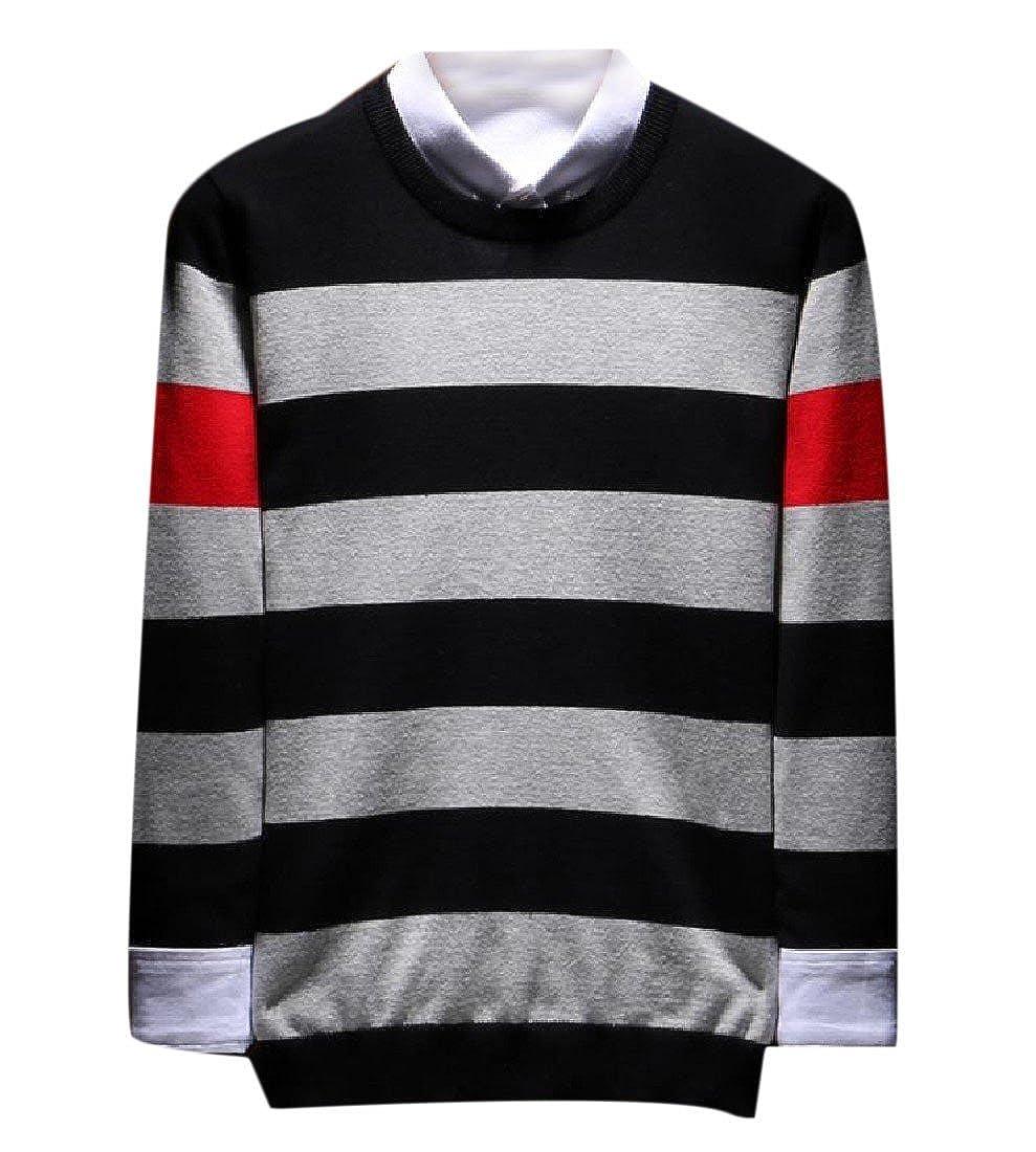 Zimaes-Men s Collision Color Crewneck Long Sleeve Striped Knit Pullover