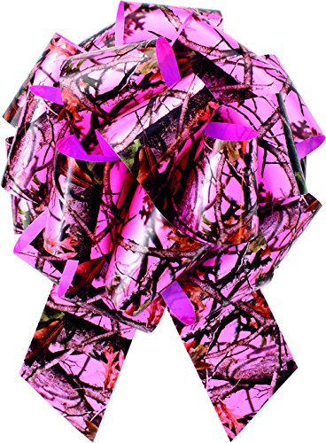(Pink Camo Bow (poly ribbon pull bow, 8