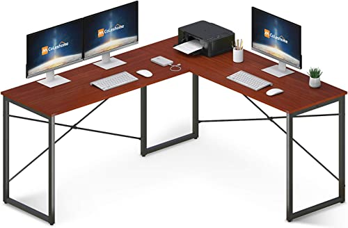 Coleshome L Shaped Desk 58″ Home Office Desk Computer Desk Corner Gaming Table Office Writing Workstation Space-Saving Easy to Assemble