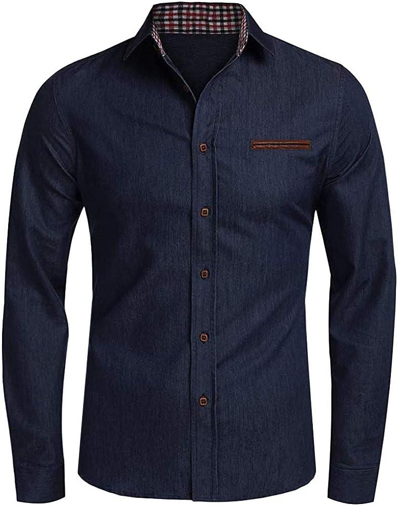 Yivise Camisa Vaquera para Hombre Camisas Casuales de Manga Larga ...