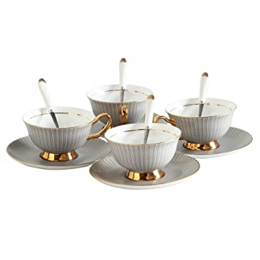 Porcelain Tea Cup and Saucer Coffee Cup Set White color with Saucer and Spoon 7 oz Set of 4 TC-SLTW