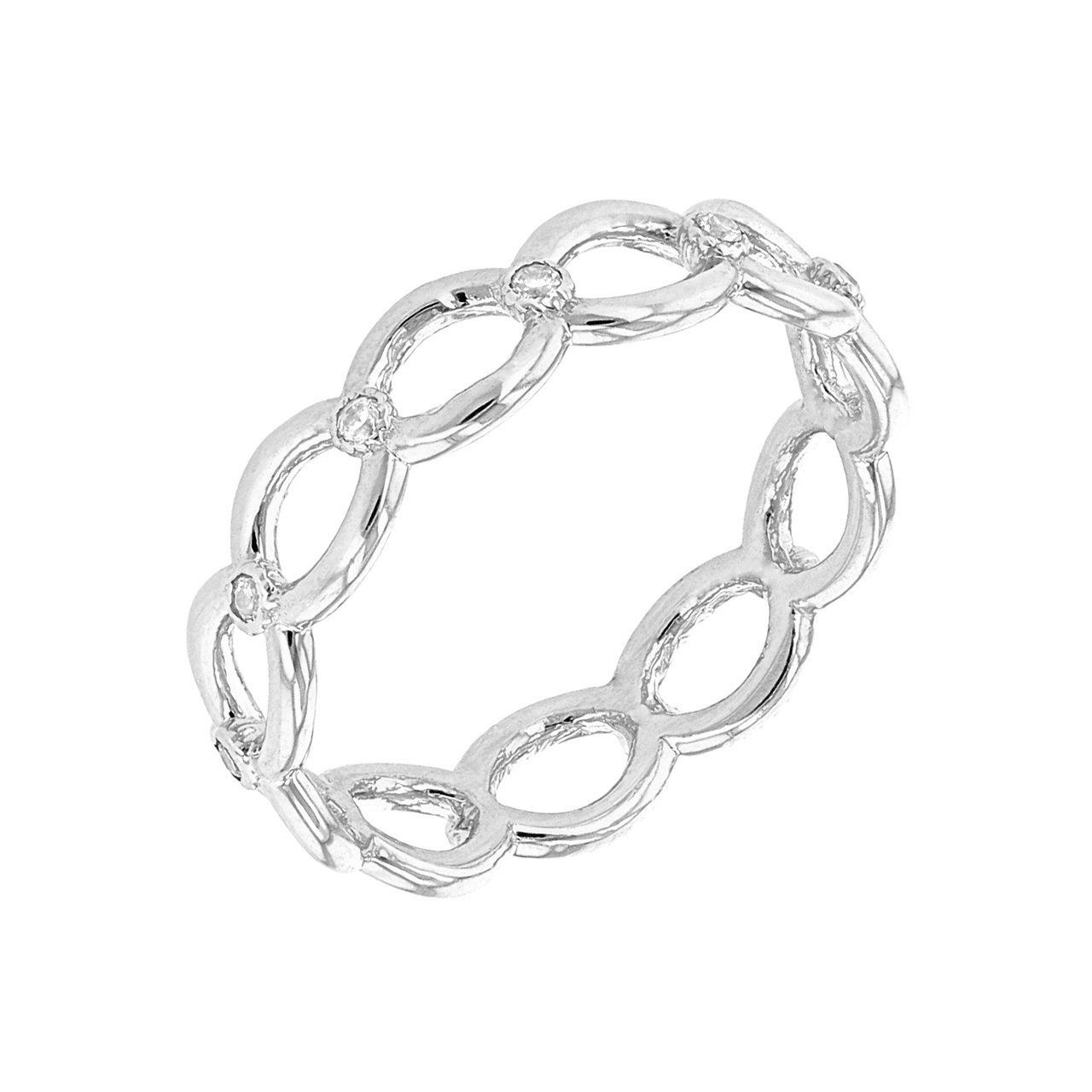 Dainty 14k White Gold Diamond Infinity/Eternity Band (Size 6)