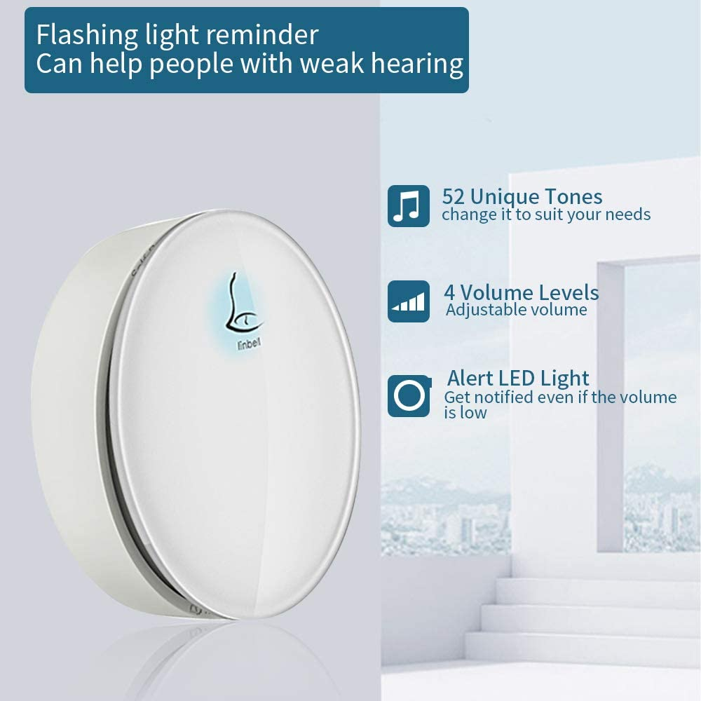 Self Powered Waterproof Wireless Doorbell No Battery Door Bell Chime Kit 1 Button 1 Receiver Round
