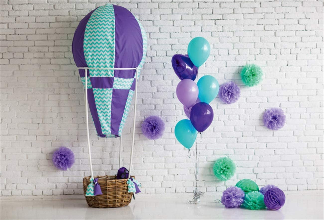 YEELE 1st Birthday Backdrop 10x8ft Hot Air Balloon Interior White Wall Photography Background First Birthday Boys Girls Room Decoration Cake Smash Party Table Photobooth Props Digital Wallpaper