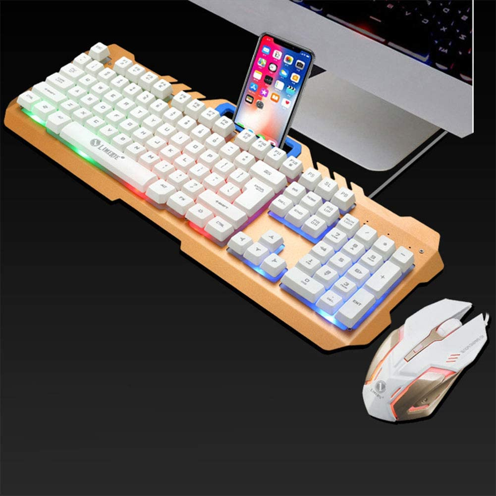 Alician Wired USB PC Gamer Suspension Mechanical Feel Laptop Computer Keyboard Mouse Set White Rainbow Light