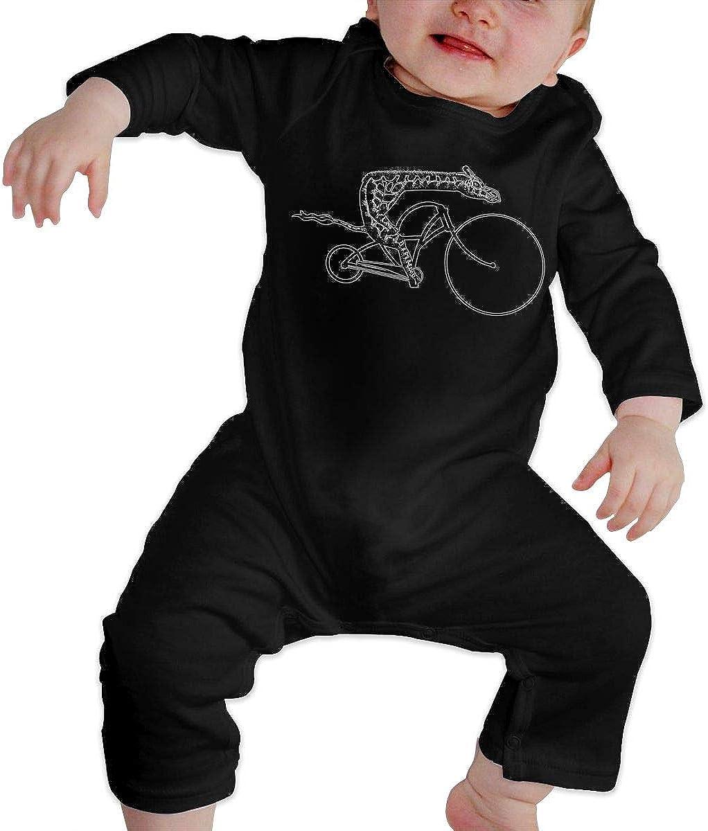 Giraffe On A Bike Printed Boys Girls Bodysuit Long Sleeve Pajamas Black