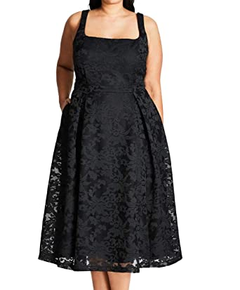 Jackie O Plus Size Fit & Flare Dress in Black - Size 18 / M ...