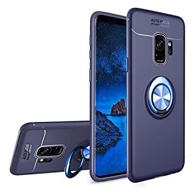 Newseego Compatible Samsung S9 Case,360° Adjustable Ring Stand,Frosting Thin Soft Protective and Finger Ring Holder Kickstand Fit Magnetic Car Mount for Samsung S9-Blue+Blue: Electronics