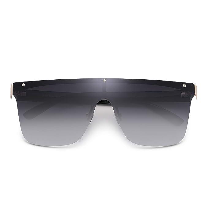 JIM HALO Sin Marco Montura Proteger Gafas de Sol Una Pieza Plano Top Espejo Anteojos Hombre Mujer