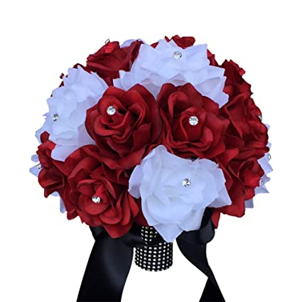 Amazon 10 wedding bouquet apple red and white roses with 10quot wedding bouquet apple red and white roses with black ribbon mightylinksfo